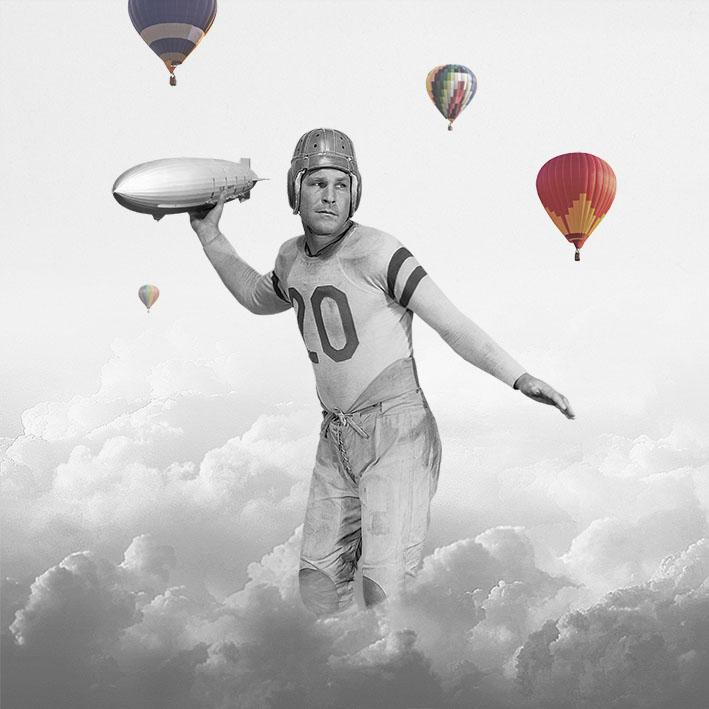 logo,logotype,logotype,design,grafica,progettazione,marca,brand,branding, collage, art, fifties, football, artdirection,balloon,sky, cloud, zeppelin